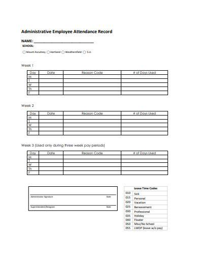 administrative employee attendance record sample