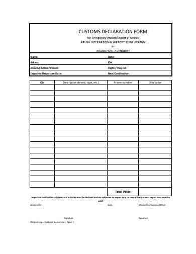 airport customs declaration form sample