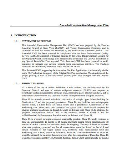 amended construction management plan
