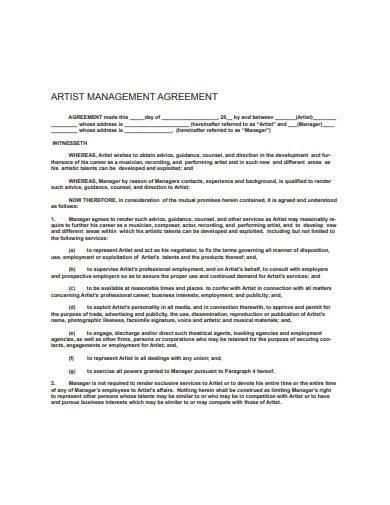 artist management agreement template