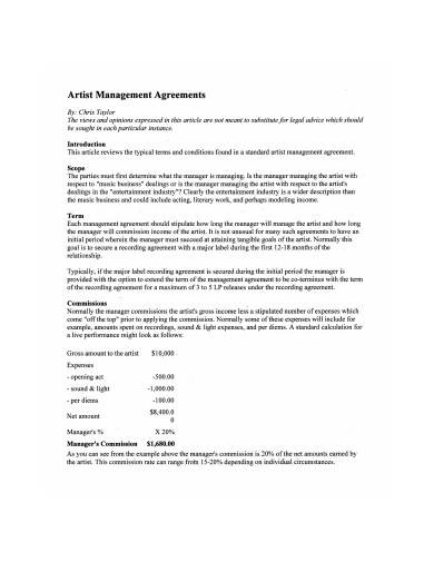 artist management agreements example