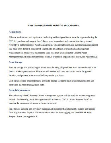 asset management policy and procedures