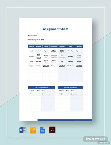 assignment sheet template