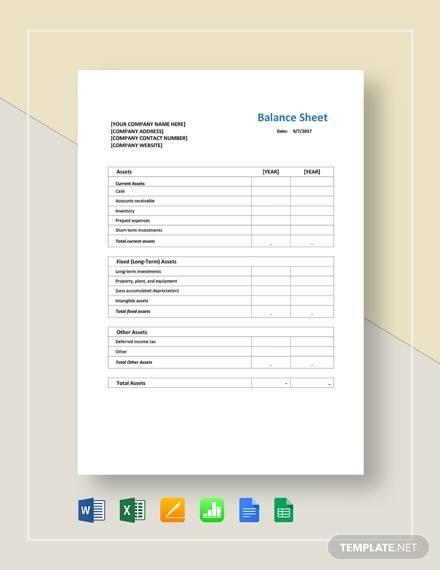 FREE 14+ Sample Balance Sheet Templates in PDF | MS Word ...