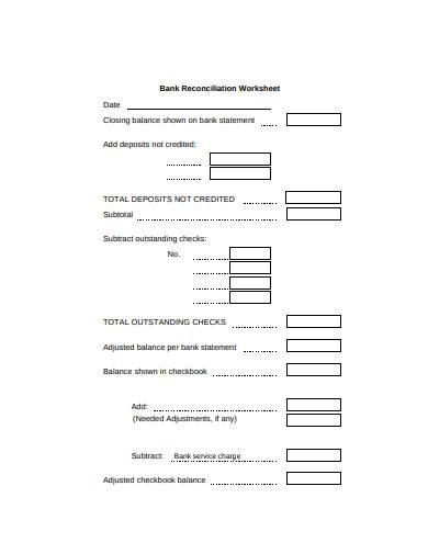 basic bank reconciliation worksheet