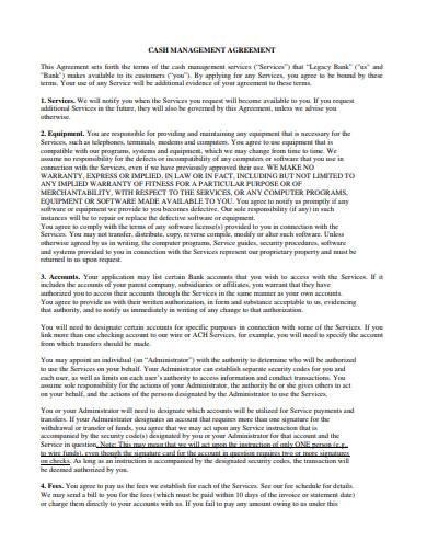 basic cash management agreement