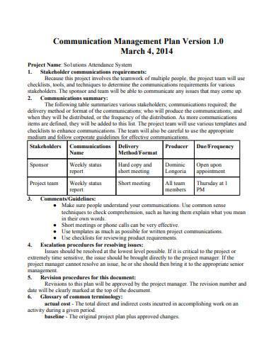 basic communication management plan