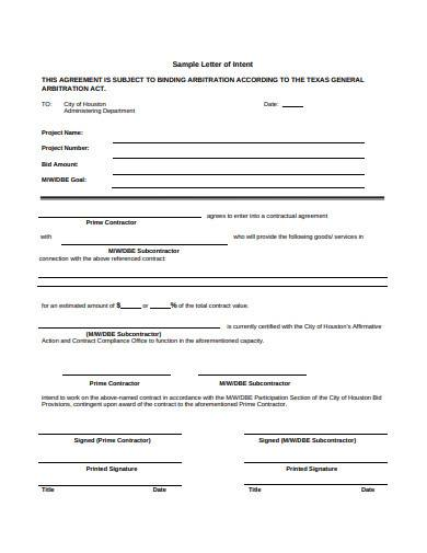 basic contractor letter of intent sample