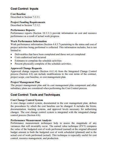 basic cost management plan sample