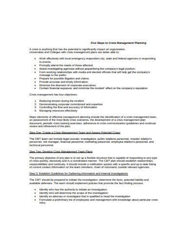 basic crisis management plan sample