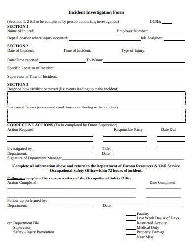 basic incident investigation form