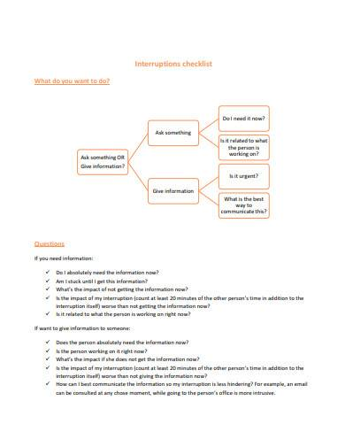 basic interruption checklist
