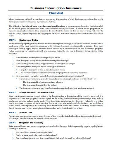 basic interruption insurance checklist