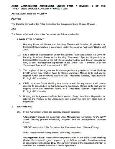 basic joint management agreement sample