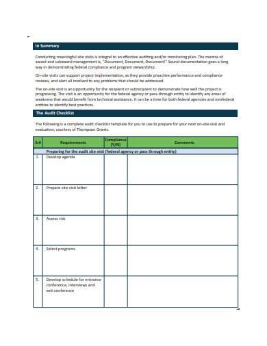 basic management audit checklist sample