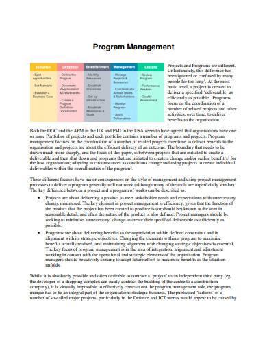 basic program management