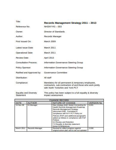 basic records management strategy template
