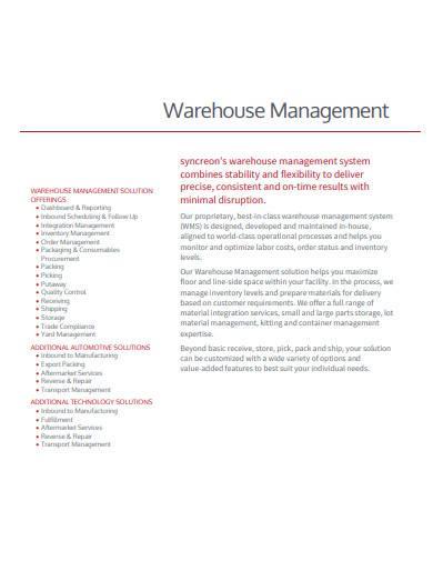 basic warehouse management