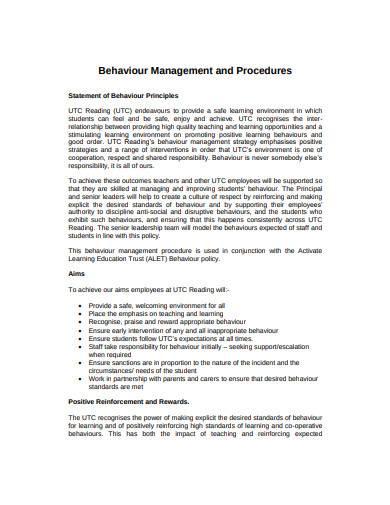 behaviour management example
