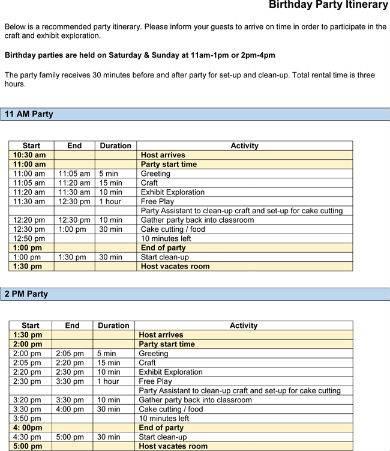 birthday party itinerary