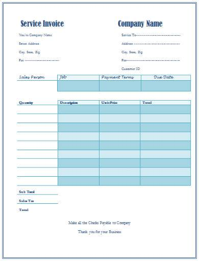 blue general invoice sample