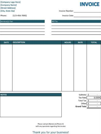 blue service invoice sample