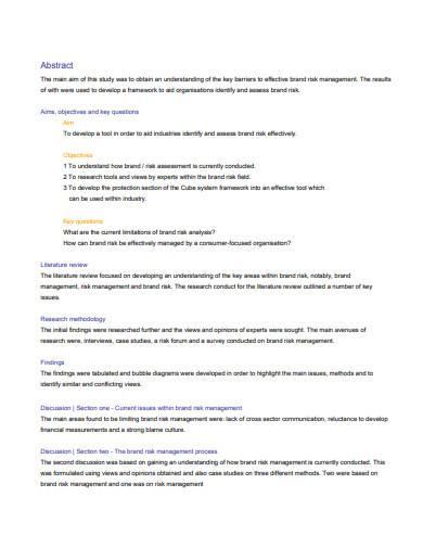 brand risk management sample