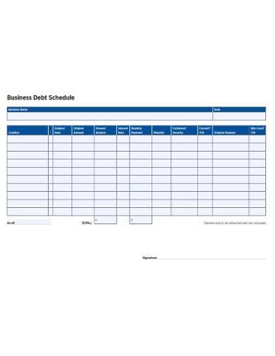 business debt schedule form