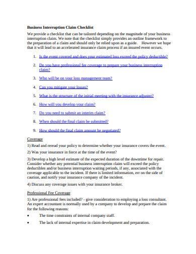 business interruption claim checklist