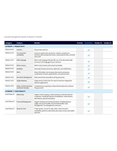 business management system evaluation checklist