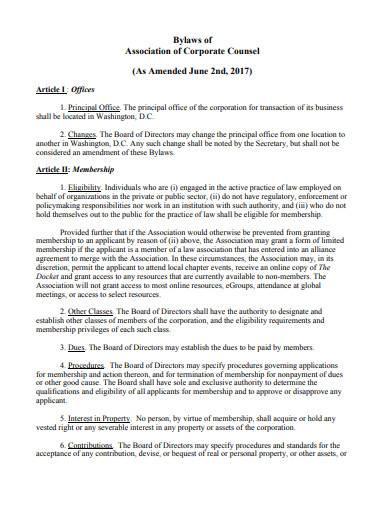 bylaws of association of corporate counsel