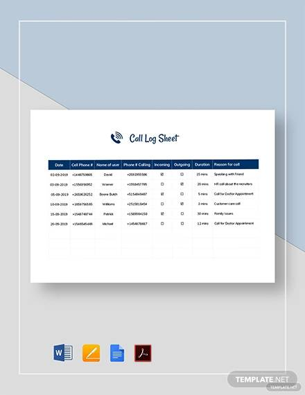 call log sheet template