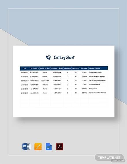 call log sheet template