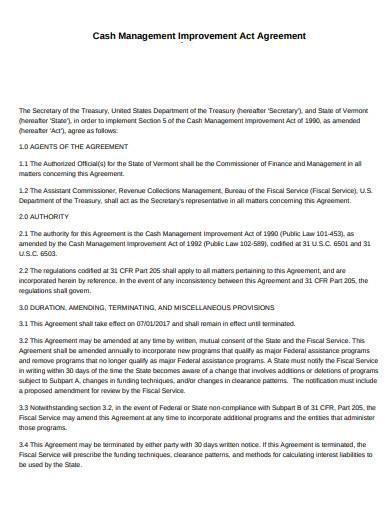 cash management improvement act agreement