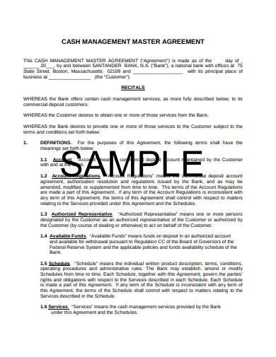 cash management master agreement