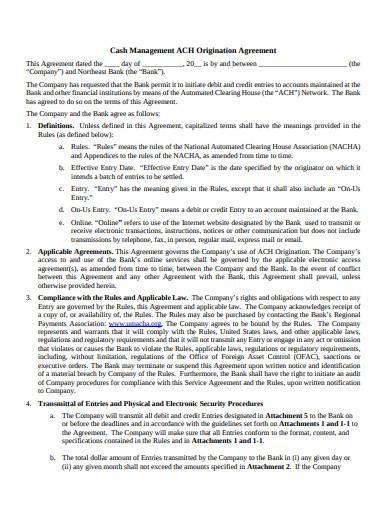 cash management origination agreement