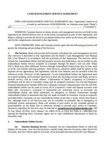 cash management service agreement