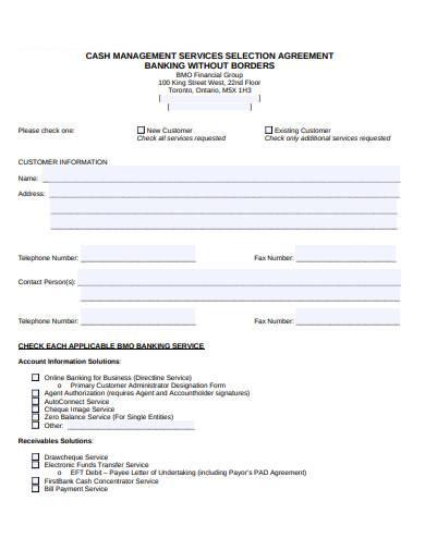 cash management services selection agreement