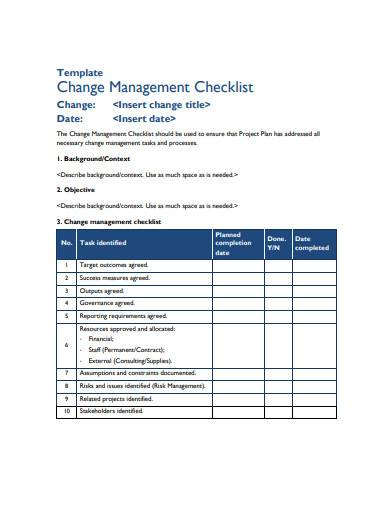 change management checklist sample