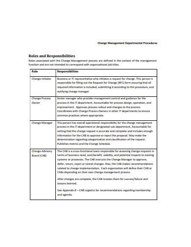 change management procedure sample