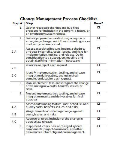 change management process checklist