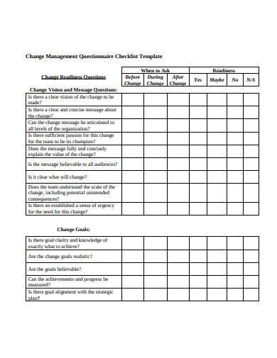 change management questionnaire checklist