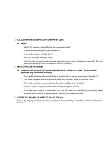checklist for business interruption losses