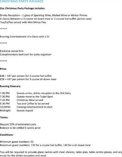christmas party itinerary
