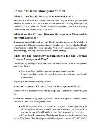 chronic disease management plan template