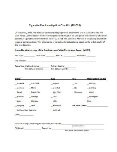 cigarette fire investigation checklist