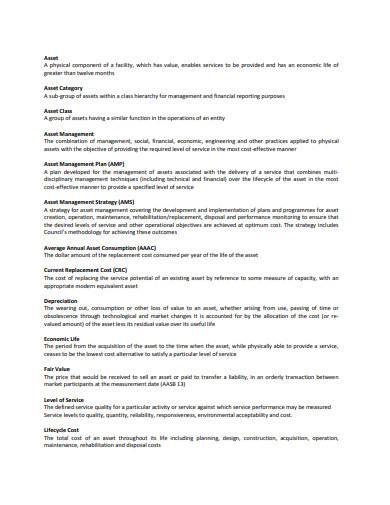 city asset management plan sample