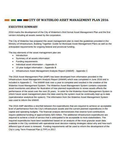 city asset management plan template
