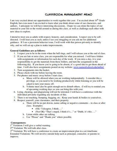 classroom management memo