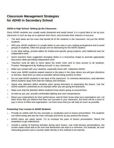 classroom management strategies in secondary school